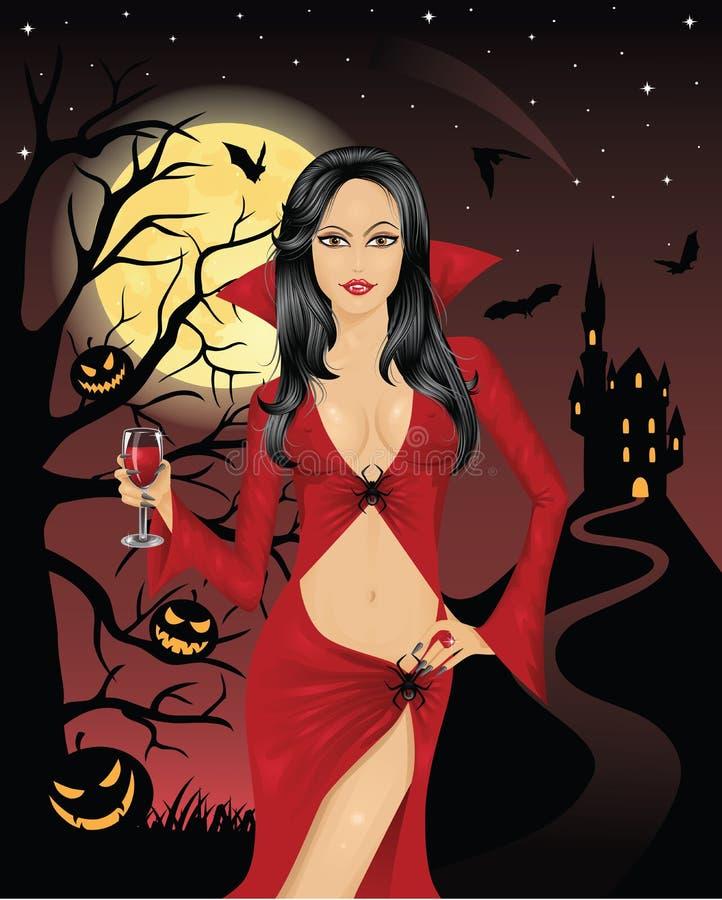Reizvoller Vampir. stock abbildung