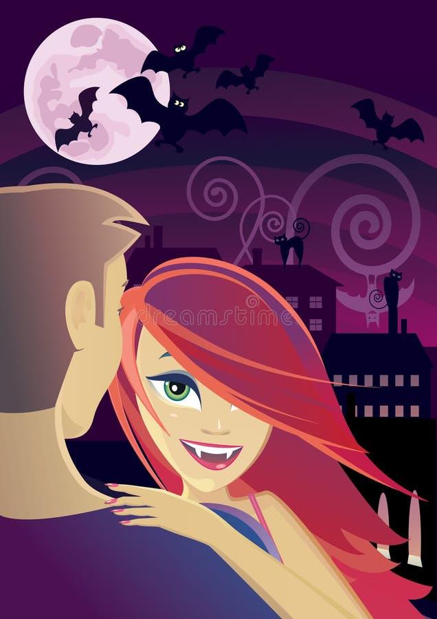 Reizvoller Vampir, der einen Mann embrassing ist lizenzfreie abbildung