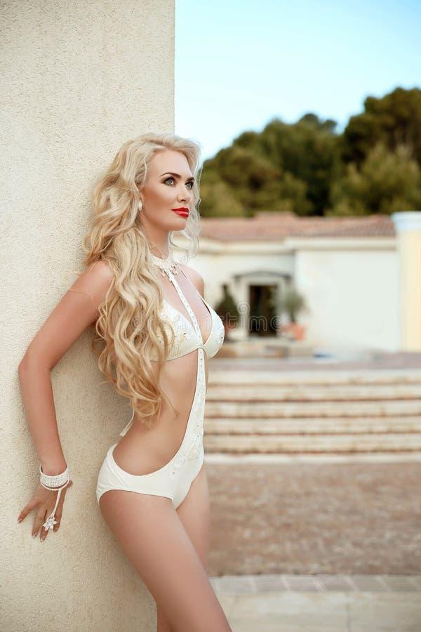 Reizvolles Bikini-Baumuster Schönheits-Modefoto schöner sexy Dame I stockfotografie