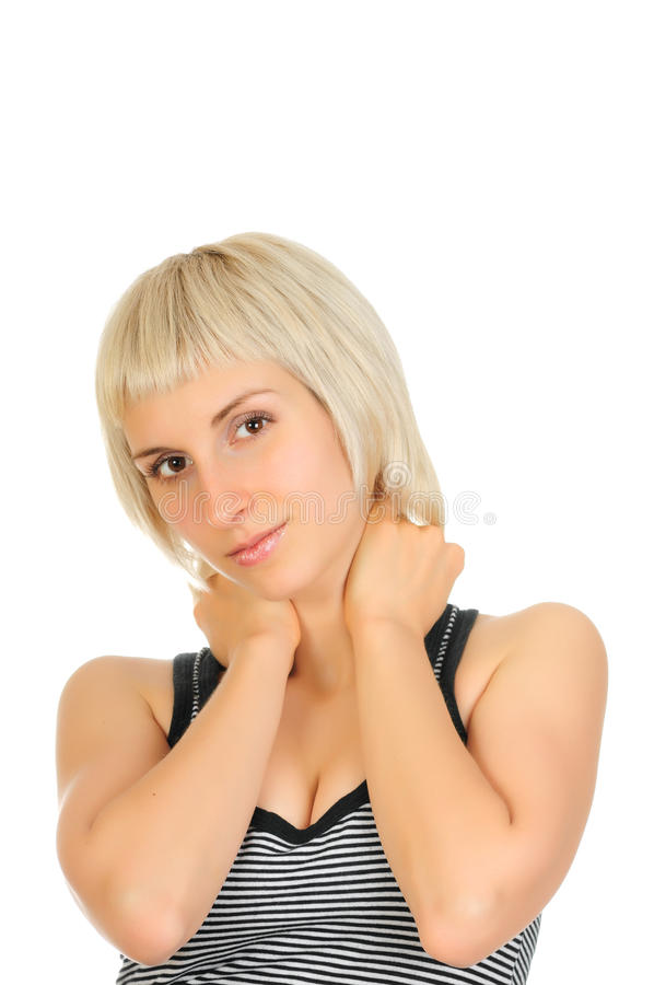 Reizvolles Frauenportrait getrennt auf Weiß stockbilder