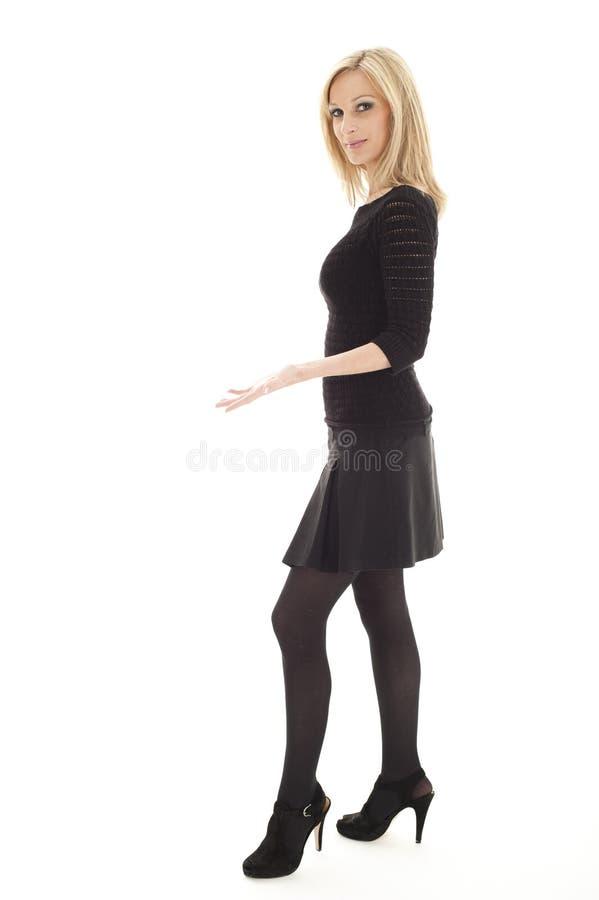Reizvolles weibliches Leitprogramm stockfoto