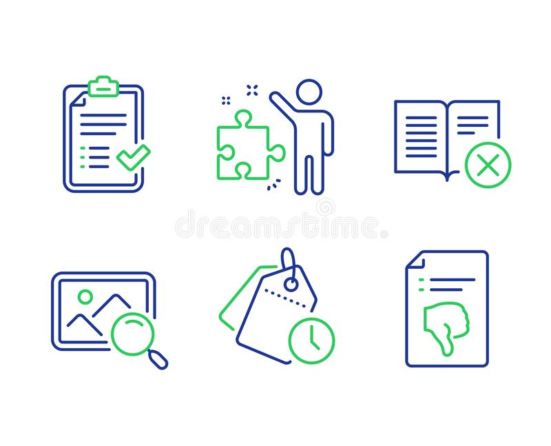 Reject book, Approved checklist and Strategy icons set. Search photo, Time management and Thumb down signs. Vector. Reject book, Approved checklist and Strategy vector illustration