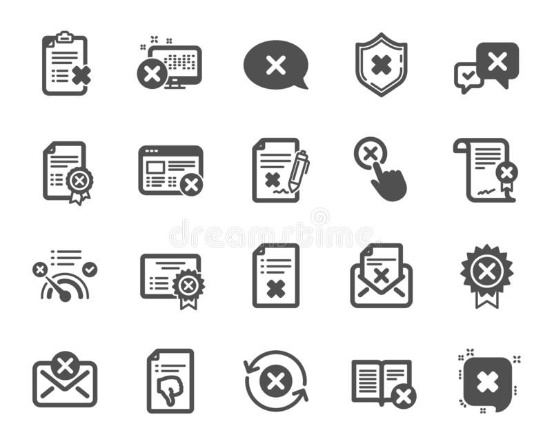 Reject or cancel icons. Set of Decline, Cancellation and Dislike. Vector. Reject or cancel icons. Set of Decline certificate, Cancellation and Dislike icons royalty free illustration