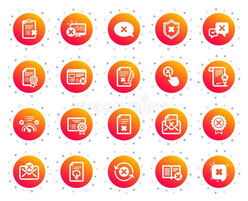 Reject or cancel icons. Set of Decline, Cancellation and Dislike. Vector. Reject or cancel icons. Set of Decline certificate, Cancellation and Dislike icons stock illustration