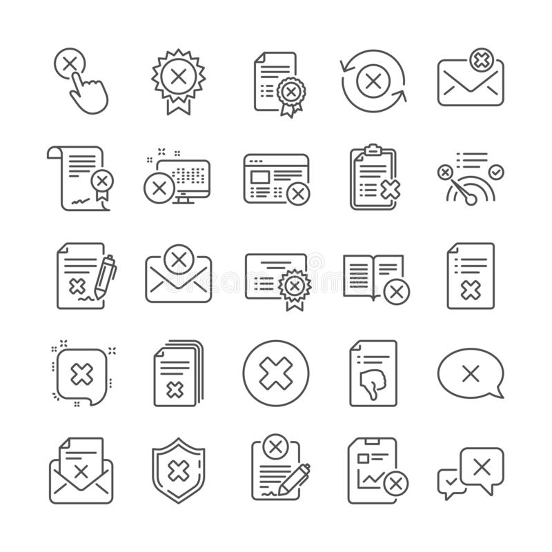 Reject or cancel line icons. Set of Decline, Cancellation and Dislike. Vector. Reject or cancel line icons. Set of Decline certificate, Dislike and Cancellation vector illustration