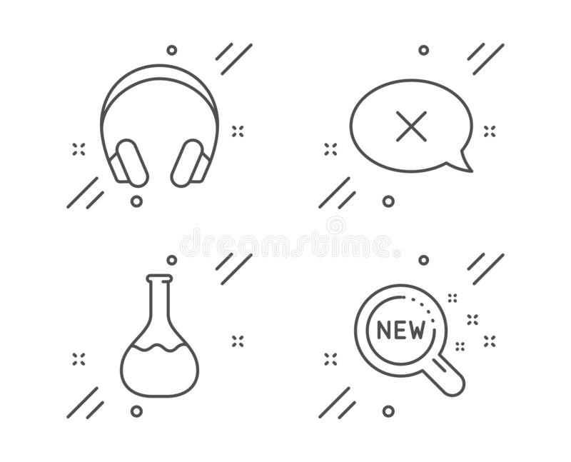 Reject, Chemistry lab and Headphones icons set. New products sign. Vector. Reject, Chemistry lab and Headphones line icons set. New products sign. Delete message royalty free illustration