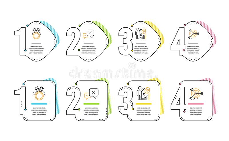 Reject, Honor and Seo statistics icons set. Target sign. Delete message, Medal, Analytics chart. Targeting. Vector vector illustration