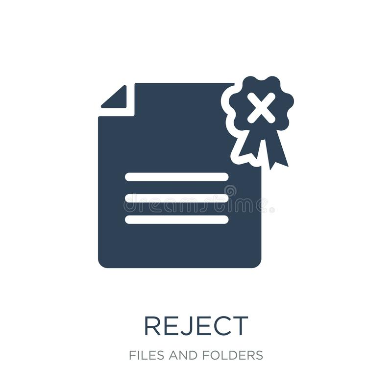 reject icon in trendy design style. reject icon isolated on white background. reject vector icon simple and modern flat symbol for stock illustration
