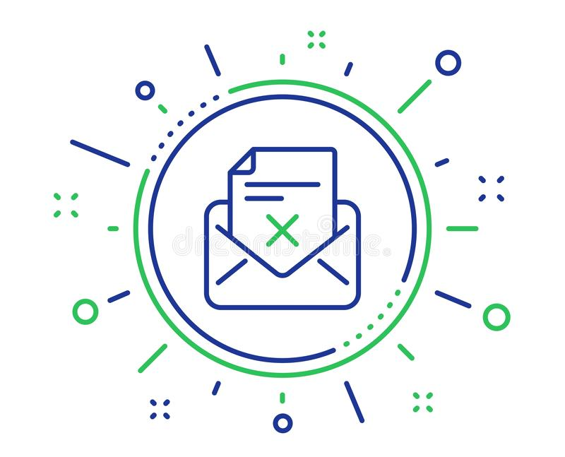 Reject letter line icon. Delete mail sign. Vector. Reject letter line icon. Delete mail sign. Decline message. Quality design elements. Technology reject letter vector illustration