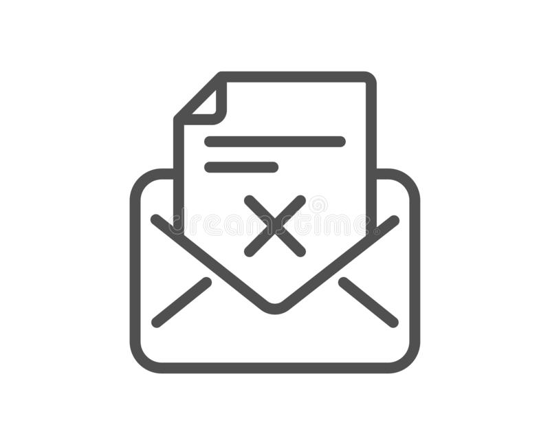 Reject letter line icon. Delete mail sign. Vector. Reject letter line icon. Delete mail sign. Decline message. Quality design flat app element. Editable stroke vector illustration