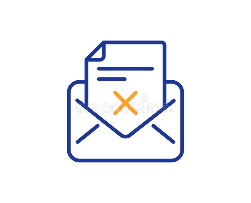 Reject letter line icon. Delete mail sign. Vector. Reject letter line icon. Delete mail sign. Decline message. Colorful outline concept. Blue and orange thin stock illustration