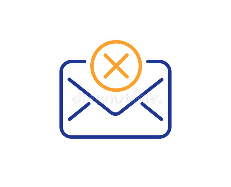 Reject mail line icon. Delete message sign. Vector. Reject mail line icon. Delete message sign. Decline web letter. Colorful outline concept. Blue and orange vector illustration