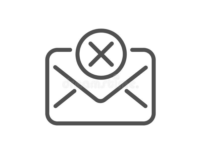 Reject mail line icon. Delete message sign. Vector. Reject mail line icon. Delete message sign. Decline web letter. Quality design flat app element. Editable stock illustration