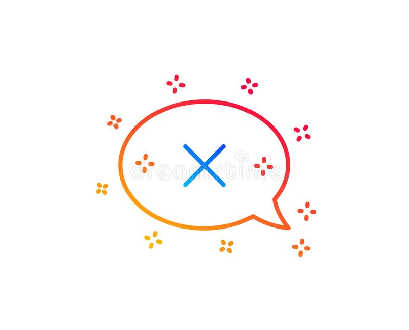 Reject message line icon. Decline chat sign. Vector stock illustration