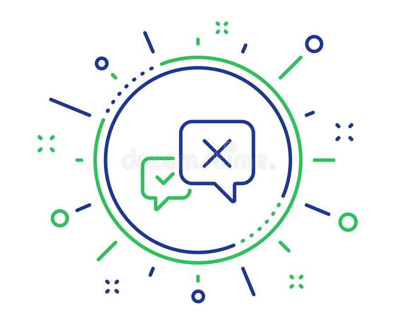 Reject message line icon. Decline chat sign. Vector royalty free illustration