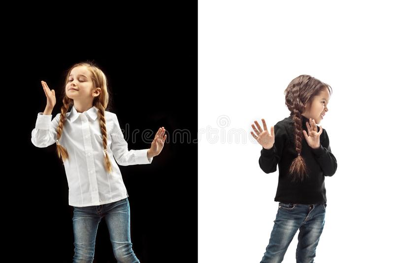 Reject, rejection, doubt concept. Young emotional teen girls at studio stock photos
