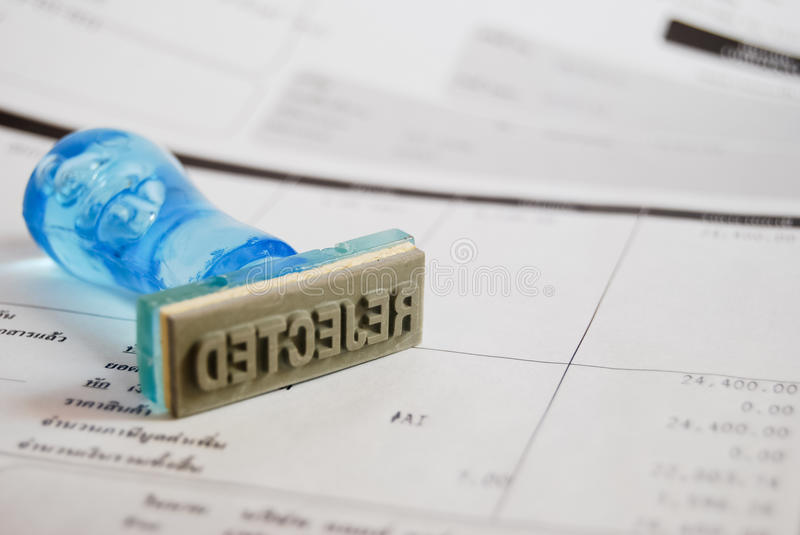 Reject Stamp On Cash Receipt Royalty Free Stock Photo