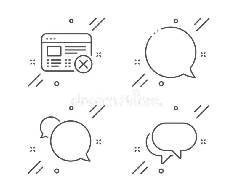 Reject web, Messenger and Speech bubble icons set. Talk bubble sign. No internet, Chat message. Business set. Vector. Reject web, Messenger and Speech bubble royalty free illustration