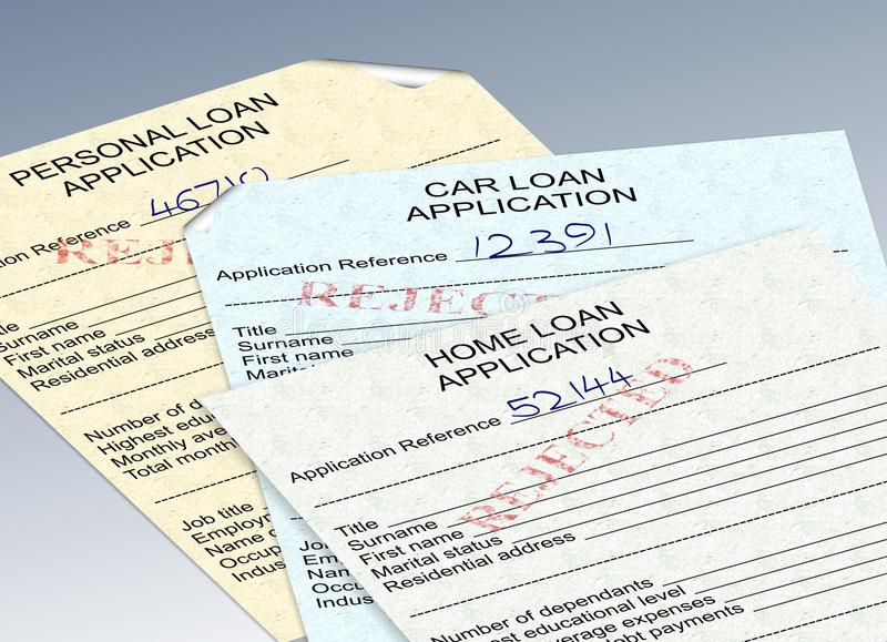 Rejected loan applications. Three different loan applications with a red rejected stamp royalty free illustration