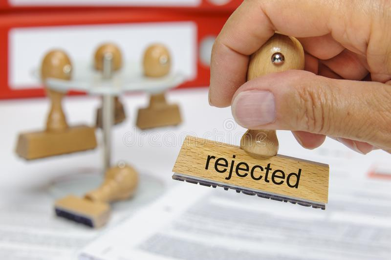 Rejected printed on rubber stamp royalty free stock image