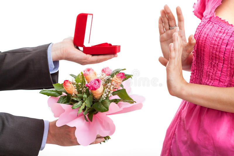 Rejected proposal stock images
