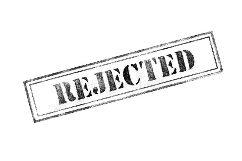 `REJECTED ` rubber stamp over a white background stock image