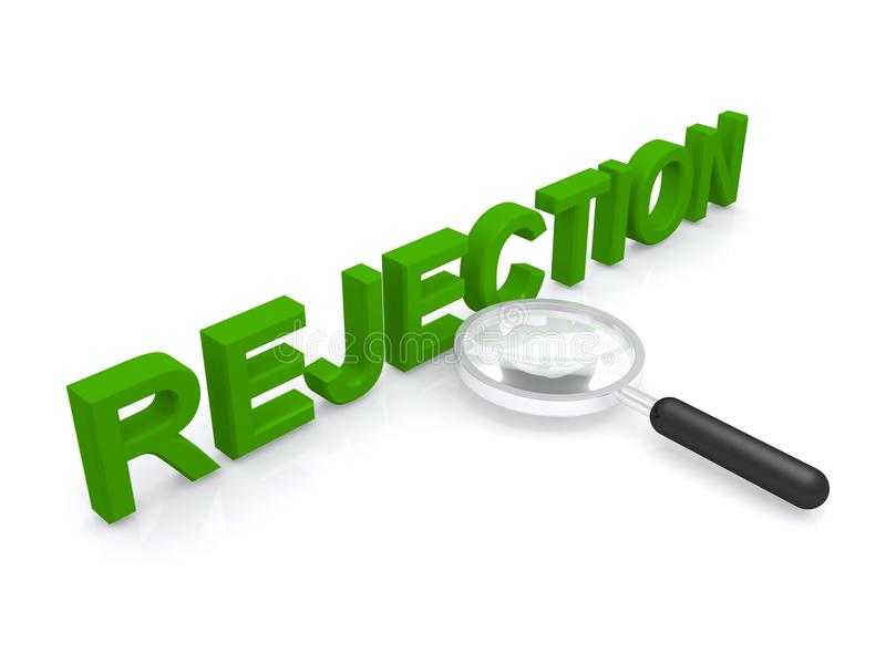 Rejection sign. 3d illustration of a rejection sign with a magnifying glass on a white background vector illustration