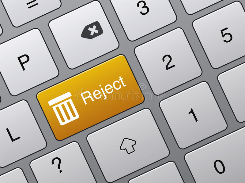 A rejeição entra na tecla no portátil ilustração royalty free