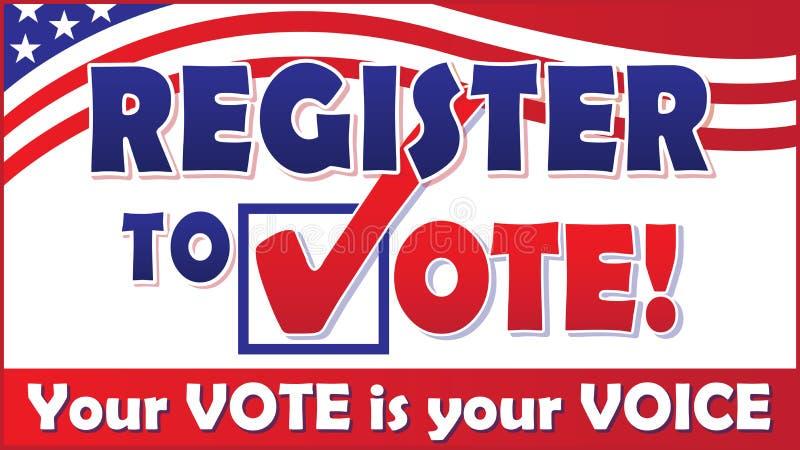 Rejestr Głosować sztandar z flaga amerykańską ilustracja wektor