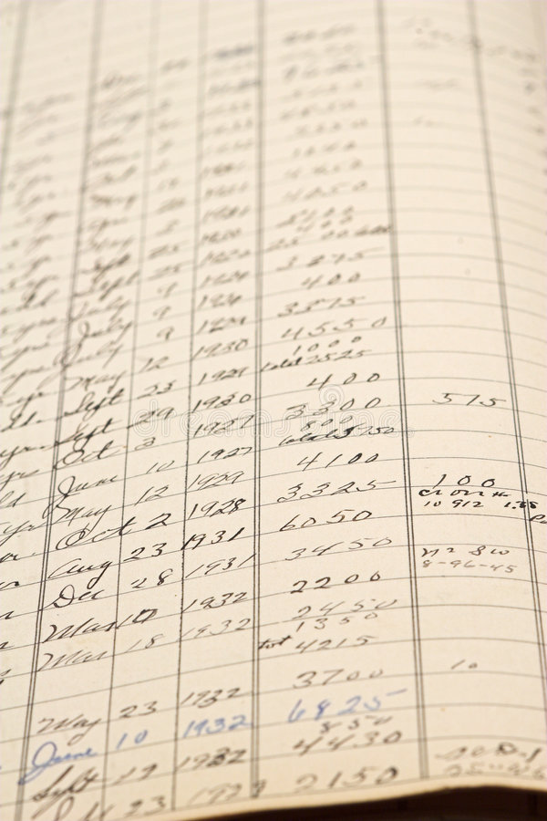 rejestr rachunkowości stara obrazy stock