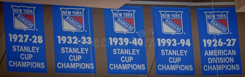 Rejestr wygranie--New York Rangers Stanley filiżanki sztandary obrazy stock