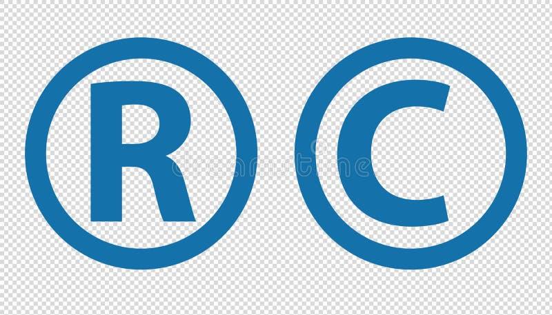 Rejestrowy znak firmowy I Copyright ikony Odizolowywać Na Przejrzystym tle - Wektorowa ilustracja - royalty ilustracja