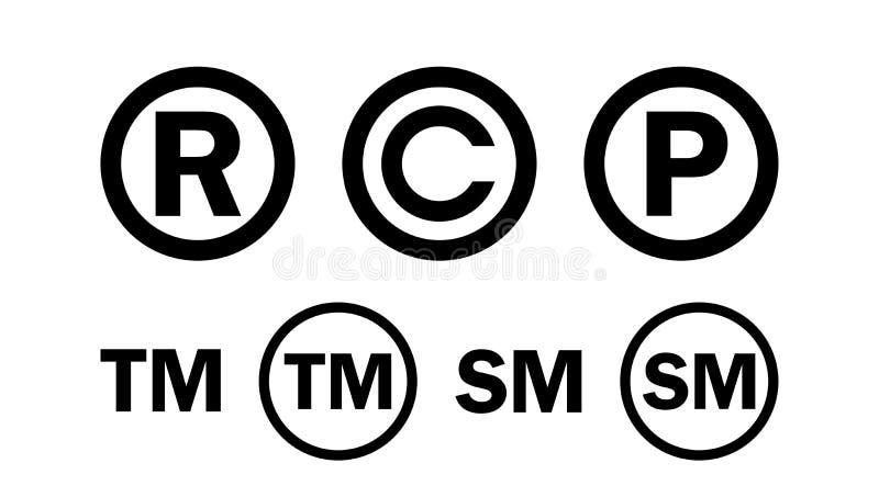 Rejestrowy znaka firmowego Copyright ikony set ilustracja wektor