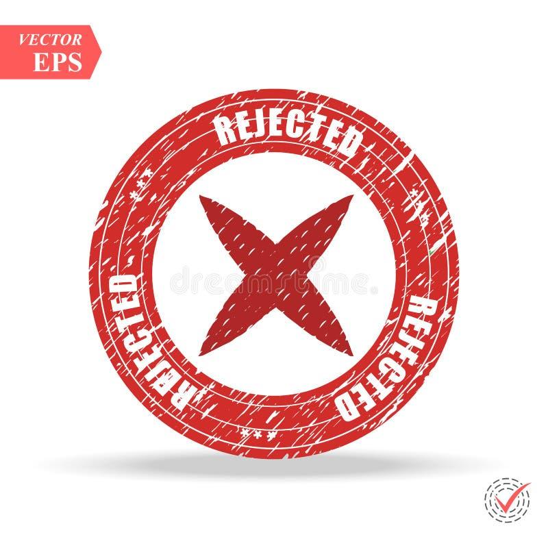 rejeté estampille signe rejeté par vintage grunge rond rouge illustration libre de droits