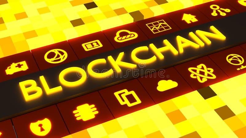 Rejilla amarilla del cubo con el blockchain de la palabra que brilla intensamente en el centro stock de ilustración