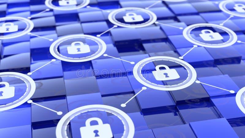 Rejilla con la red del candado que flota sobre los cubos azules con el differe stock de ilustración