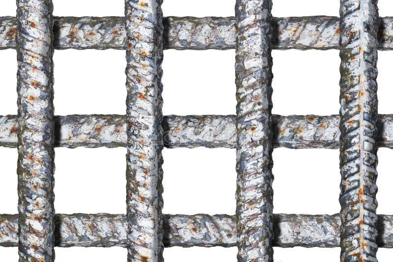Rejilla de la prisión con las barras de metal gruesas de la travesía sin las sombras aisladas en blanco imagen de archivo