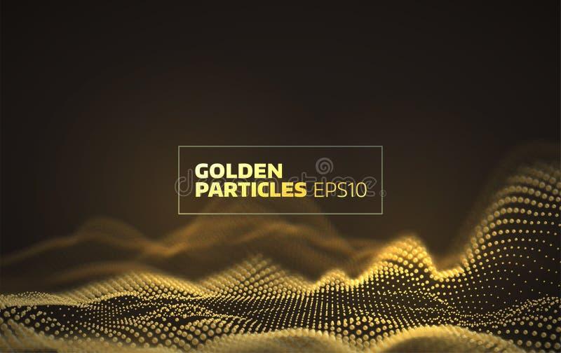 Rejilla de oro abstracta de las partículas fondo de la red 3d libre illustration