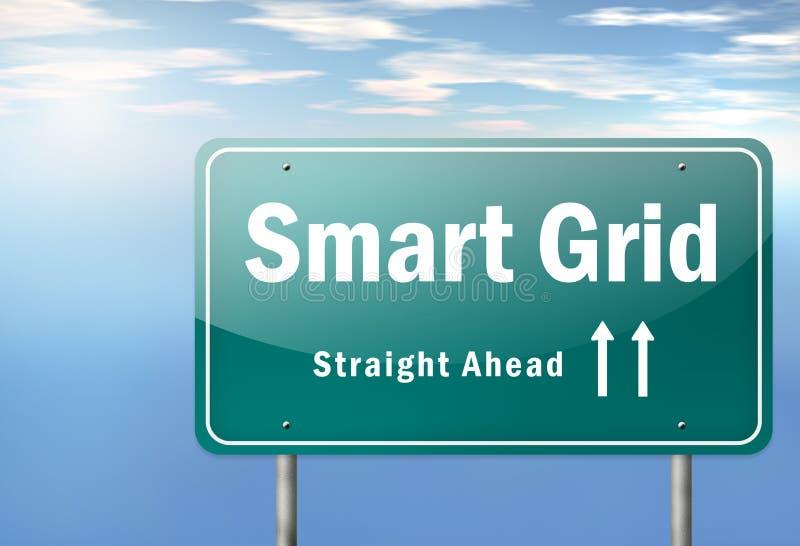 Rejilla de Smart del poste indicador de la carretera ilustración del vector