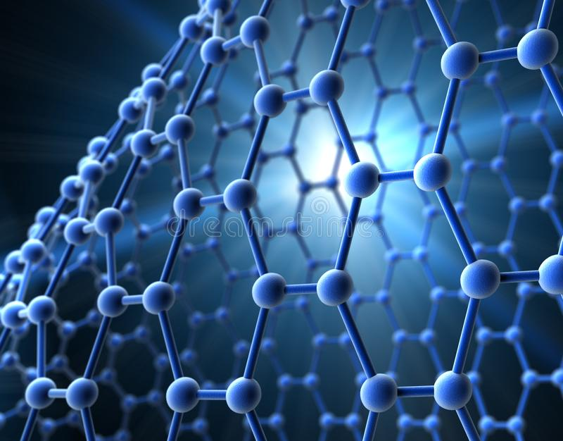 Rejilla de una molécula azul - visualización de la estructura 3d stock de ilustración