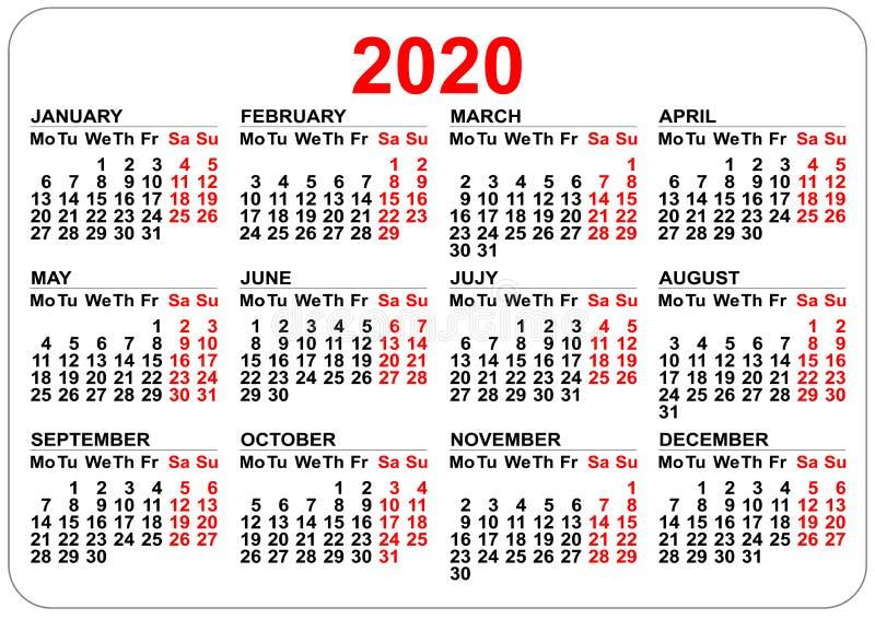 rejilla del calendario de 2020 años Números aislados en blanco ilustración del vector