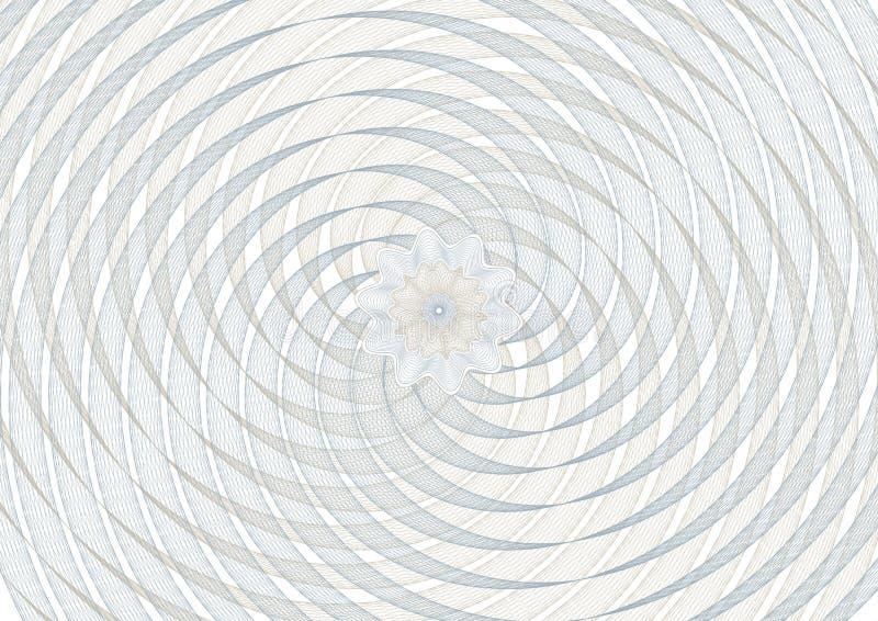 Rejilla del fondo del espiral del vector del guilloquis con un rosetón en el ce libre illustration