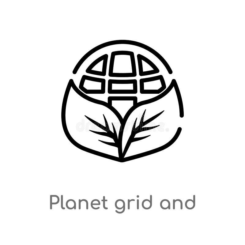 rejilla del planeta del esquema y un icono del vector de la hoja l?nea simple negra aislada ejemplo del elemento del concepto de  stock de ilustración