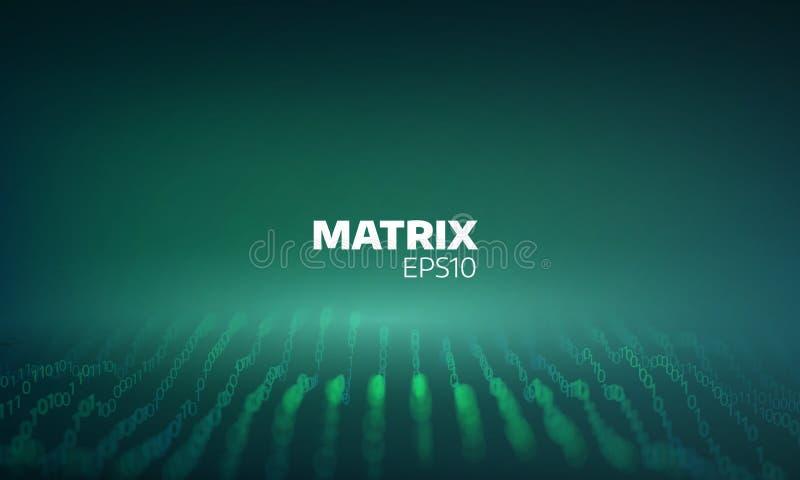 Rejilla digital abstracta Ciberespacio de la matriz de pedazo Proceso de codificación Flujo de datos futurista libre illustration