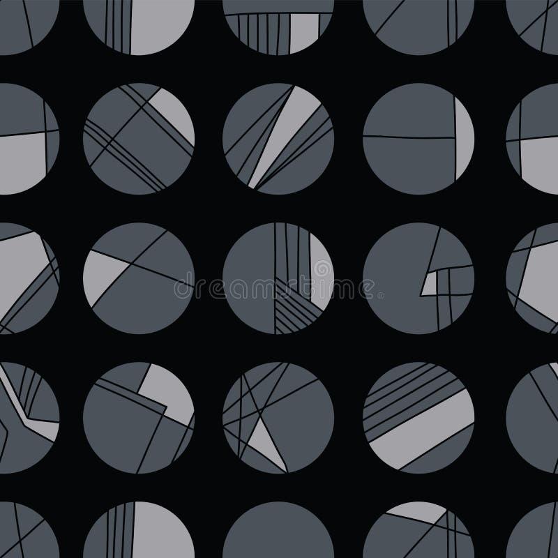 Rejilla geométrica del círculo del carbón de leña abstracto ilustración del vector