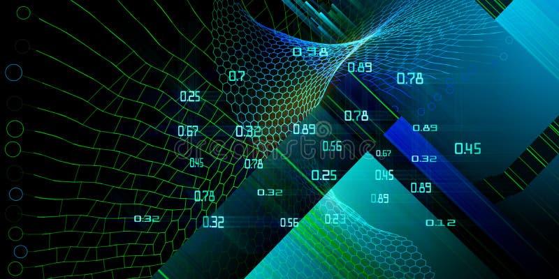 Rejilla infographic del análisis del extracto en fondo oscuro Datos grandes Concepto futurista de los datos stock de ilustración