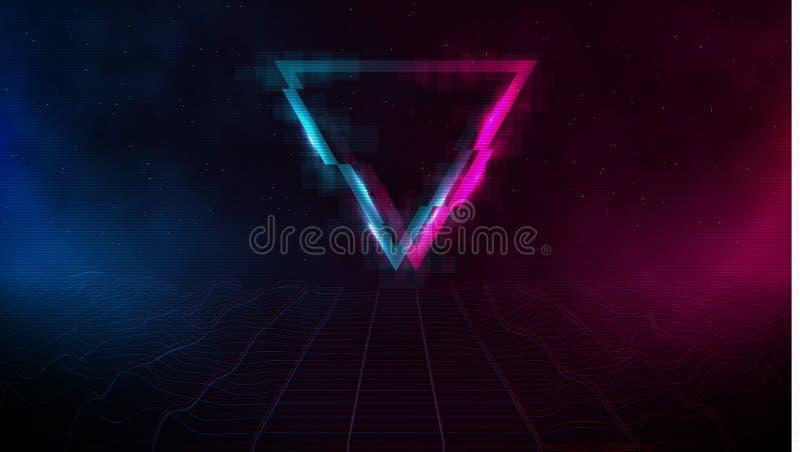 Rejilla láser retrowave synthwave vaporwave ciberpaisaje con triángulo de rayado, niebla rosa y azul y brillos en ambos lados ilustración del vector