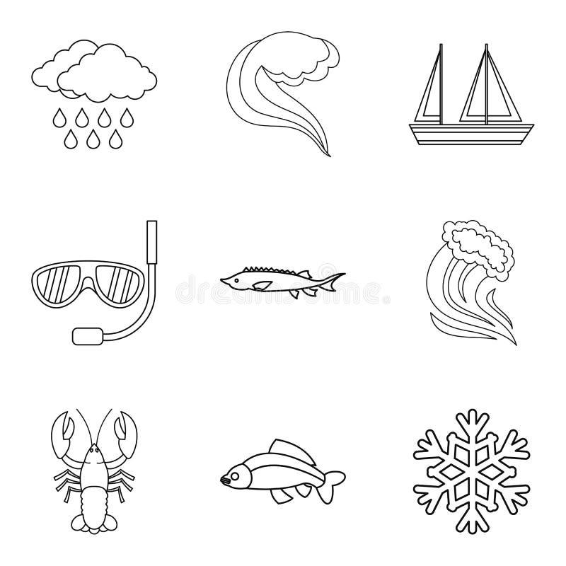 Rejon zalewania ikony ustawiać, konturu styl ilustracji