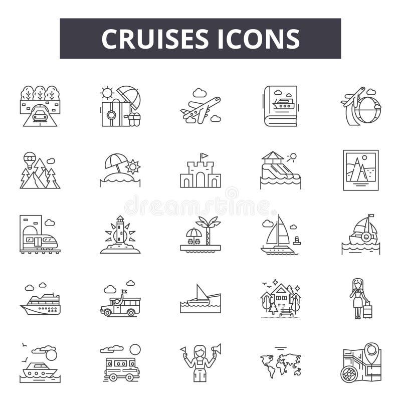 Rejs linii ikony, znaki, wektoru set, liniowy pojęcie, kontur ilustracja ilustracja wektor
