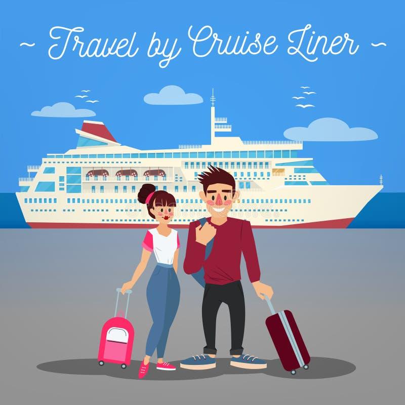 Rejsu liniowa podróż Rejsu liniowiec schronienia Japan pasażerskiego statku yohohama Podróż sztandar royalty ilustracja